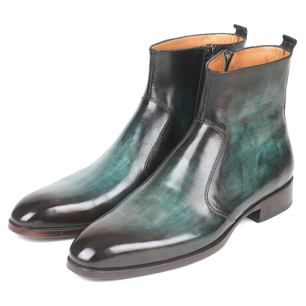 Fashion new green side zipper men's boots