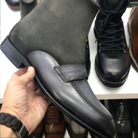 Men's Suede and Leather Ankle Boots
