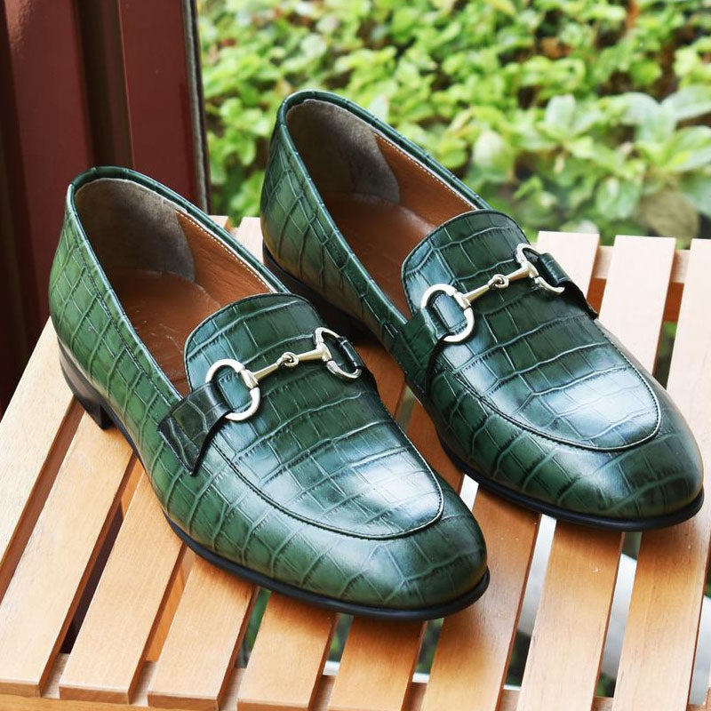 Men's Fashion Green Crocodile Leather Shoes