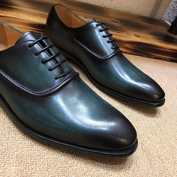 Italian Design Green Men's Formal Shoes Cow Leather