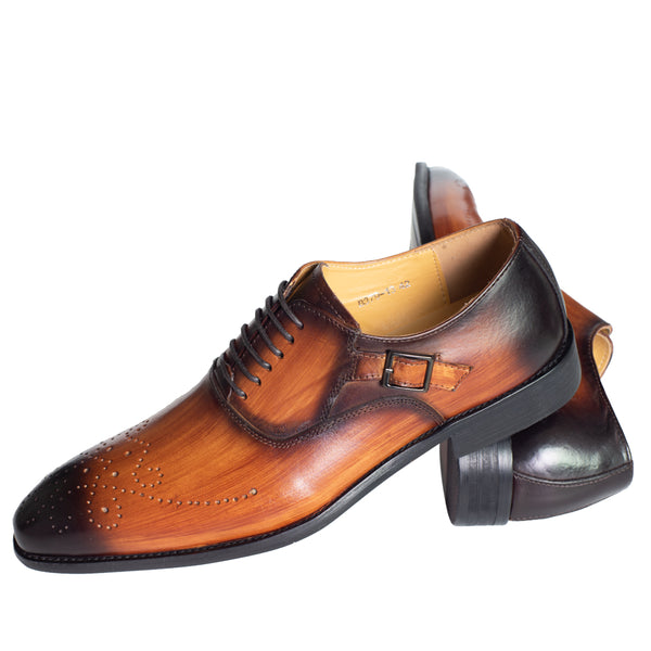 Men Leather Buckle Strap Mixed Color Brogue Shoe