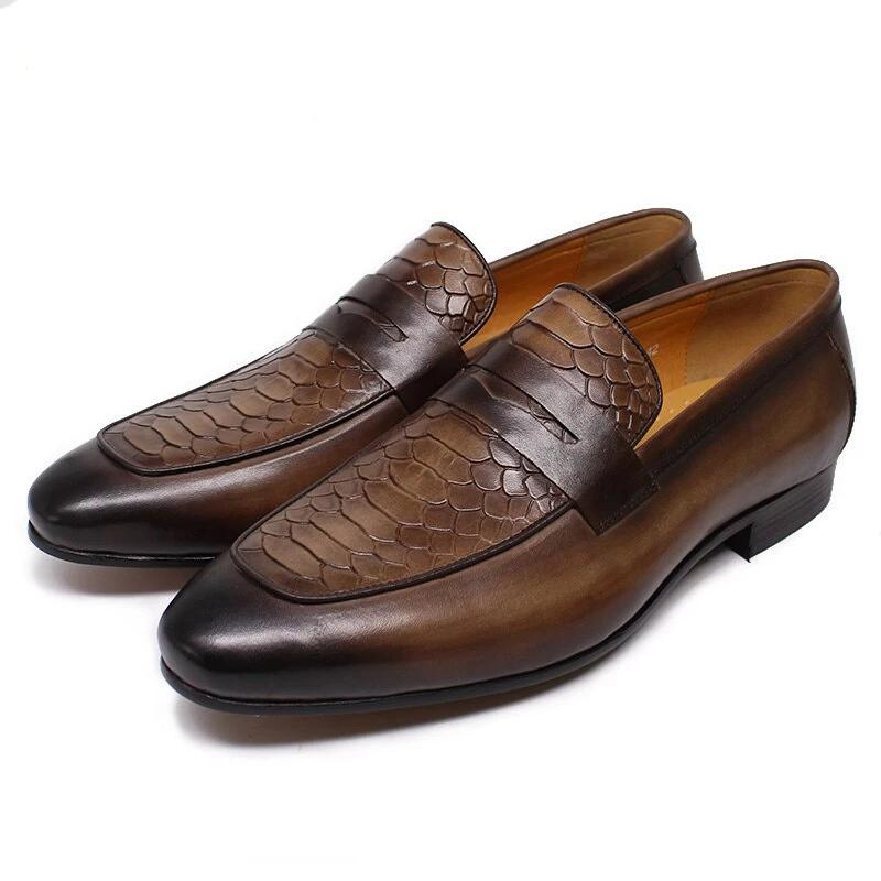 MEN LEATHER PENNY LOAFERS SNAKE SKIN PRINTS