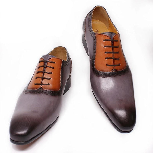 LUXURY GENUINE LEATHER SHOES BROWN PATCHWORK GRAY LACE UP