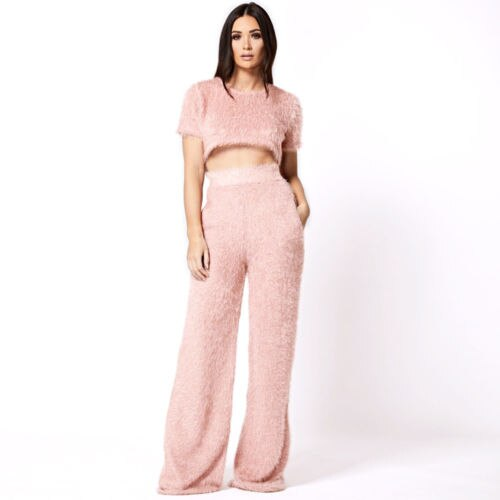 Warm Solid Casual Fluffy Tops&Pants Suits