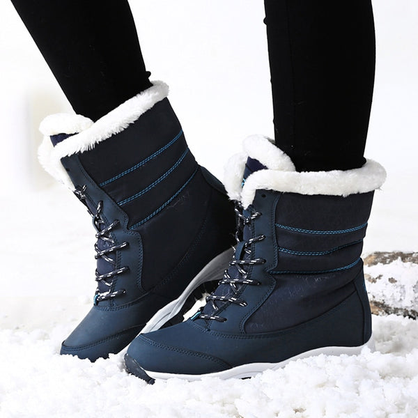 Women Winter Waterproof  Boots Platform Ankle Boots With Thick Fur