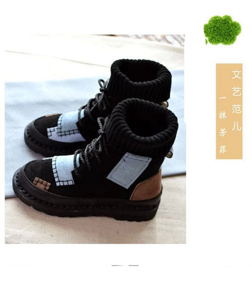 Women's High Top Boots Nubuck Plus Velvet Warm Casual Boots