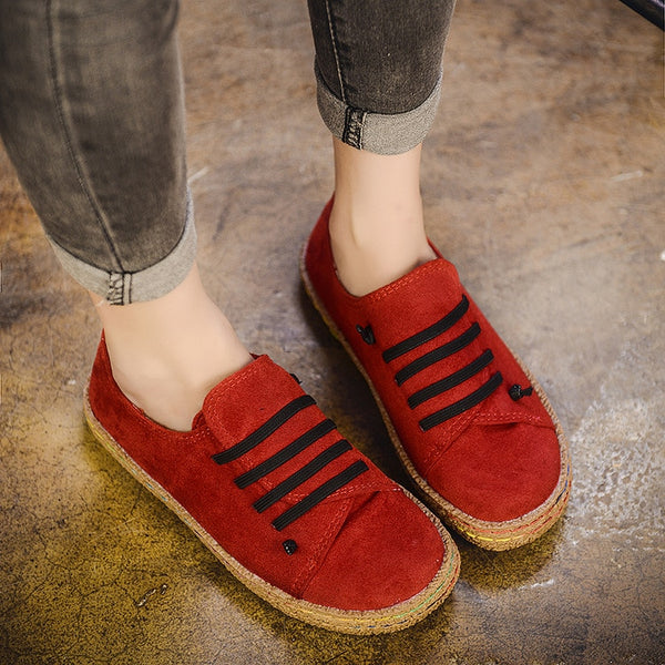 Autumn Woman Flat Shoes Casual Lace-up Flats Comfortable Round Toe