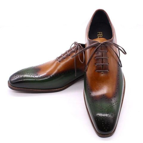 US Size 8-15 Handmade Mens Wingtip Oxfords Genuine Calf Leather Shoes