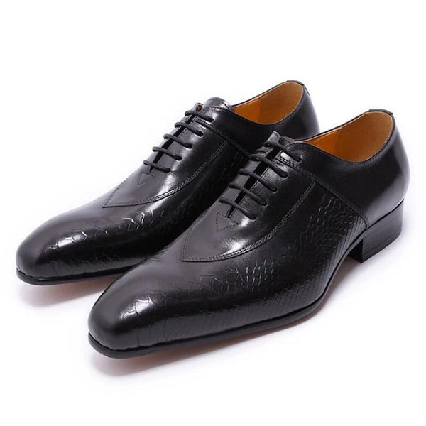 BLACK RED LACE UP POINTED TOE MEN LEATHER SHOES