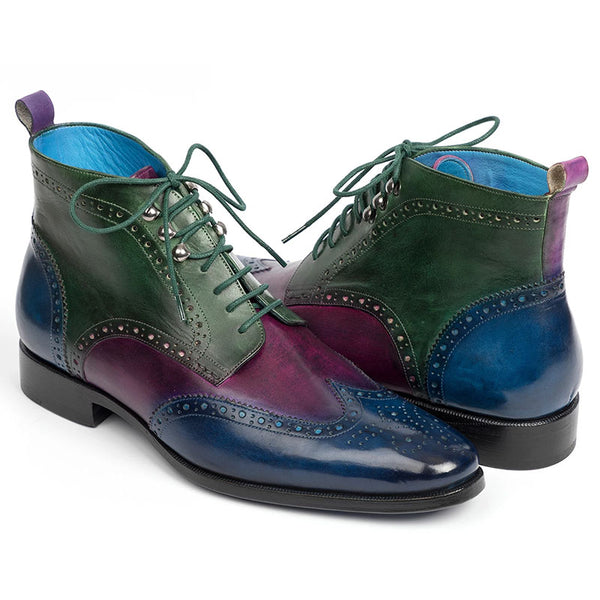 Fashion new men's ankle boots three-color blue purple green