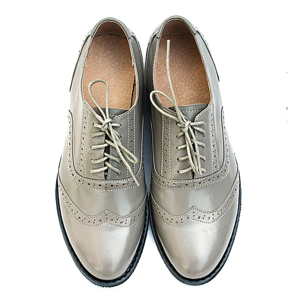 Men genuine leather brogues oxford shoes handmade vintage