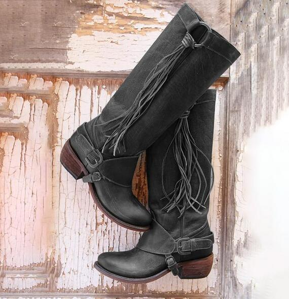 Women's Vintage Tassel Knot Knee High Boots