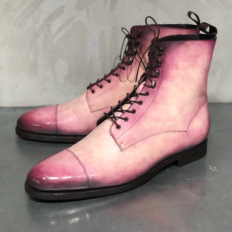Fashion new men's pink leather lace-up boots