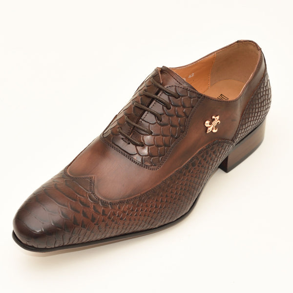 Men Formal Lace Up Emboss Oxford Shoes