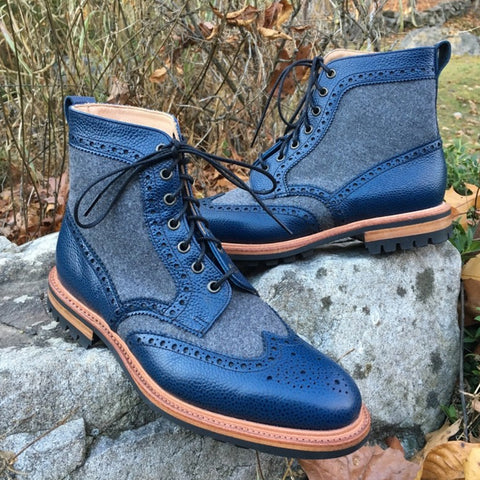 Cowhide Brogue Martin Boots