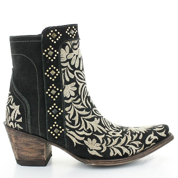 Flower Embroidery Zipper Point Toe Chunky Vintage Booties