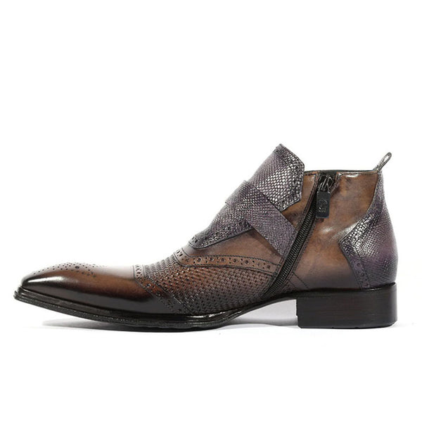 Men's Black Trendy Lizard Boots