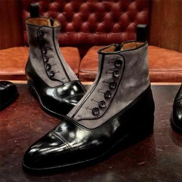 Men's stitching deer cloth button men's high boots