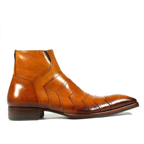 Men's Brown Leather Plated Stitched Boots