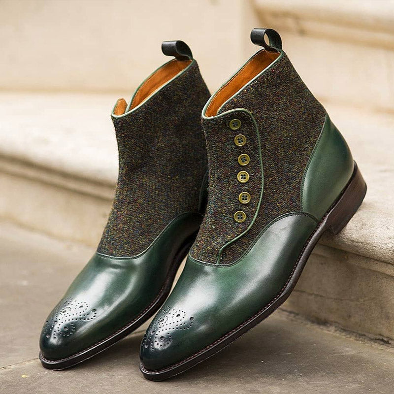 Men's Green Button Casual Boots