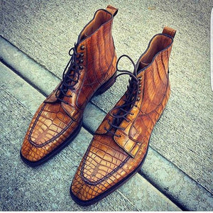 Men's Fashion Crocodile Leather Lace Up Ankle Boots