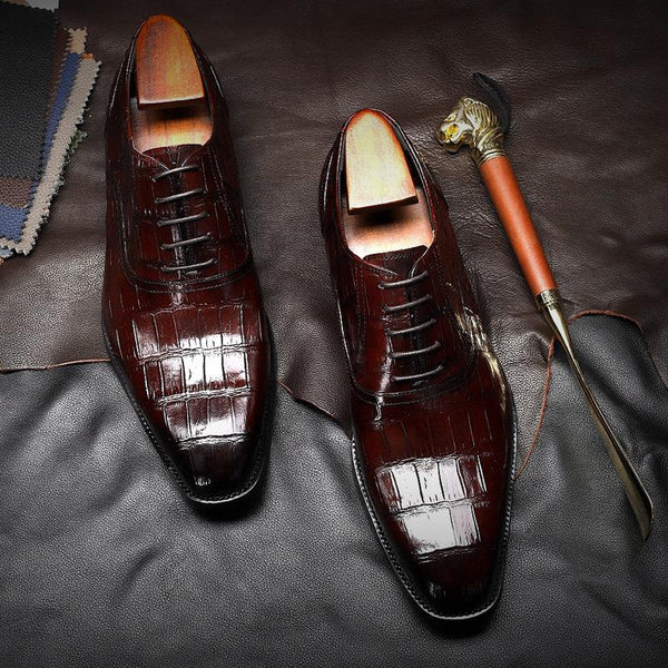 British Pointed Dress Shoes Genuine Leather