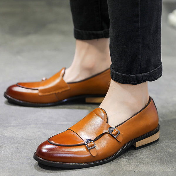 New Double Buckle Patent Monk Shoes