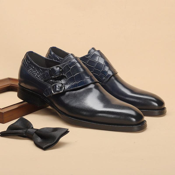Buckle Monk Dress Shoes Cow Leather