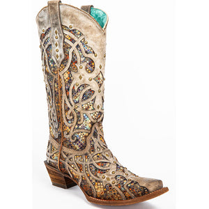 Women's Taupe Inlay Western Boots