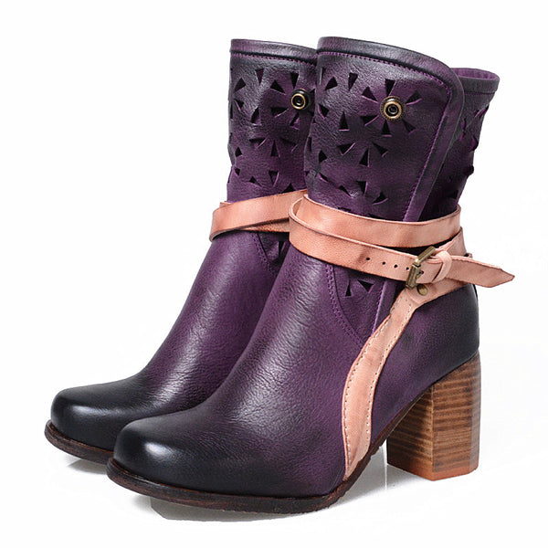 Autumn and winter new belt buckle ladies ankle boots