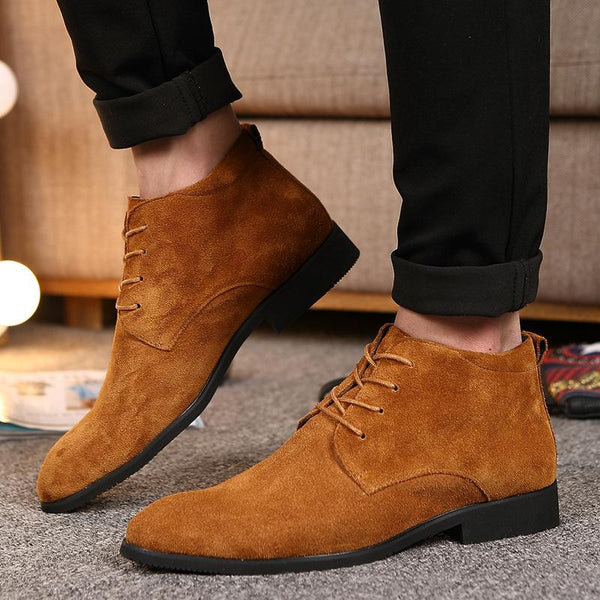 Plus Size British Style suede Men Ankle Boots