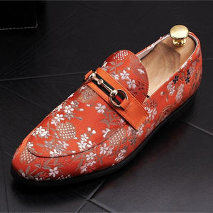 Loafers Flower Embroidery Slip On Leather Shoes - Arceey