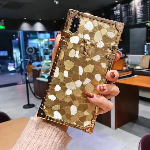 iPhone Case - 3D Luxury Square Gold Glitter Case For iphone X  XR XS MAX