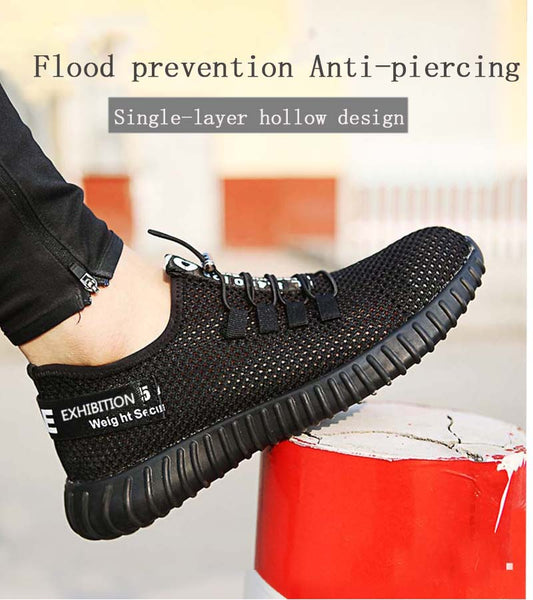 Breathable Shoes Men's Anti-smashing Piercing Work Single Mesh Sneakers