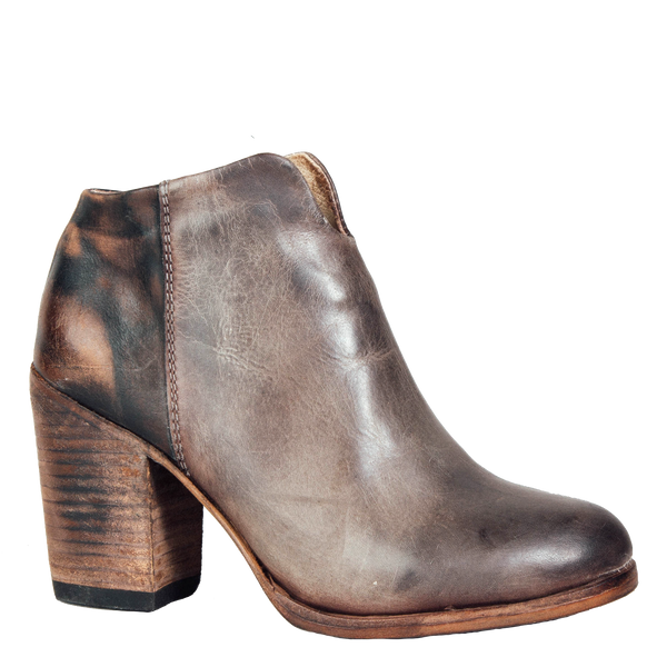 Darius stone leather ankle booite outside view with two toned leather