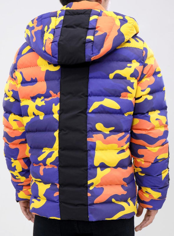 ROKU STUDIO CRAZY CAMO BUBBLE JACKET_NAVY/ORG_RK6480294