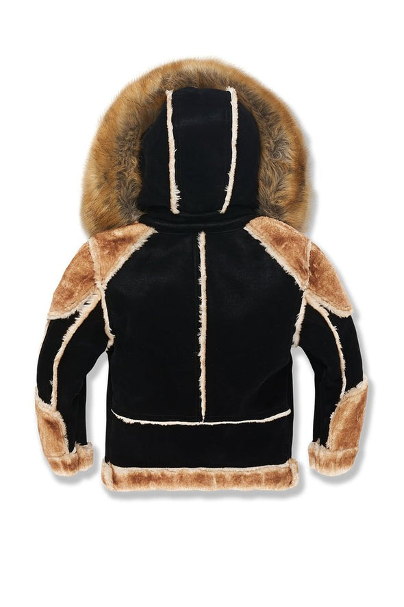 JORDAN CRAIG KIDS EL JEFE SHEARLING MOTO JACKET_BLACK COFFEE