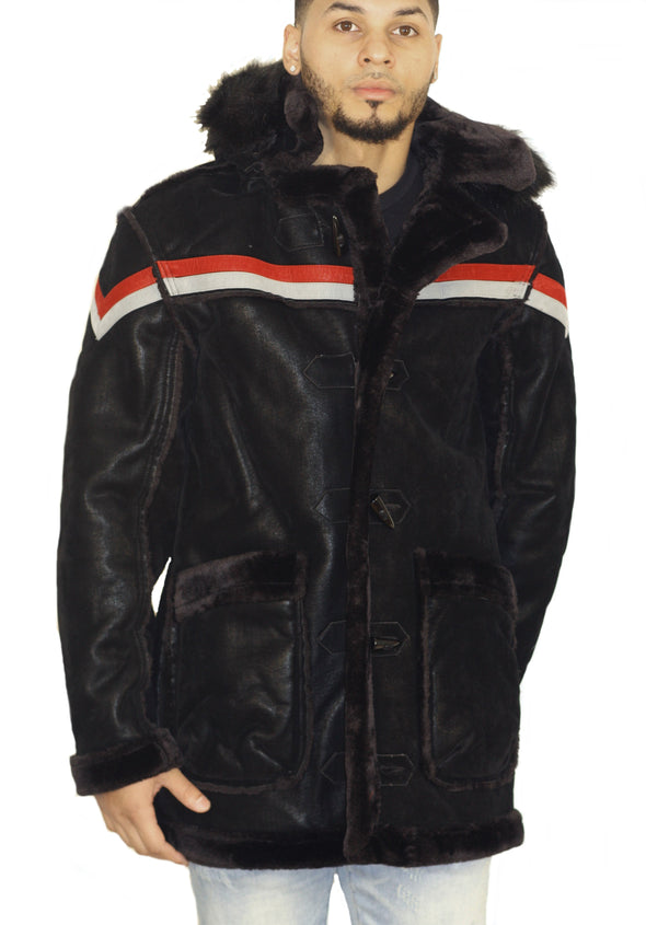 JORDAN CRAIG MEN DENALI SHEARLING JACKET_BLACK STRIPE