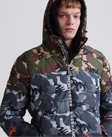 SUPERDRY CAMO MIX SPORTS PUFFER JACKET