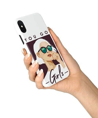 retro girl with glasses phone case