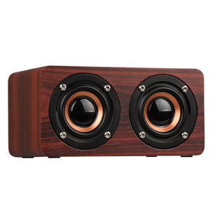 W5 Retro Wood Bluetooth Speaker HIFI Dual Hands-free with TF Card AUX IN MP3 Player