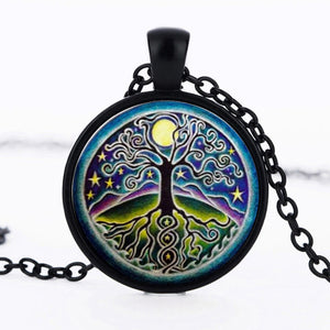 SUTEYI Tree Of Life Statement Necklace Art Photo Glass Cabochon Pendant Charm Choker