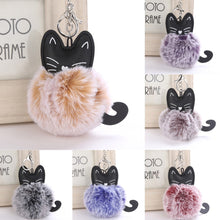 Load image into Gallery viewer, OTOKY 1pc 8CM Cute Cat Keychain Pendant Women Key Ring Holder Pompoms Key Chains