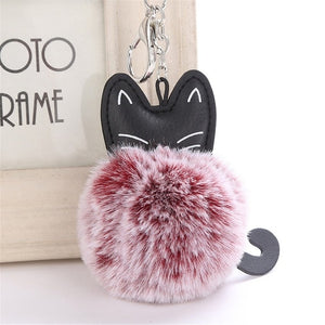 OTOKY 1pc 8CM Cute Cat Keychain Pendant Women Key Ring Holder Pompoms Key Chains