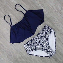 Load image into Gallery viewer, Women Swimwear High Waist Swimsuit Halter Sexy Bikini Set Retro Bathing Suits All Sizes