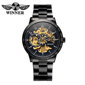 WINNER Skeleton Semi Automatic Men Mechanical Watch Luminous Stainless Steel