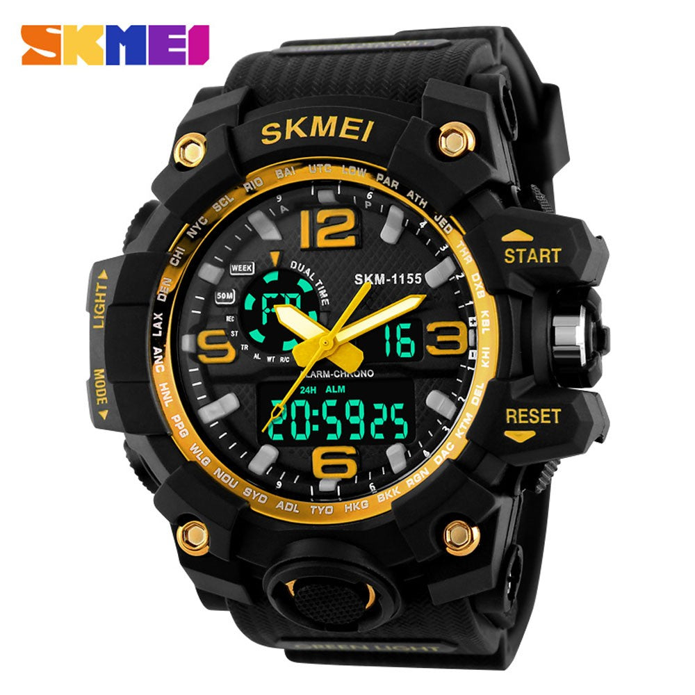 SKMEI LED Waterproof Wristwatch Sport Men's Quartz Analog Digital Watch