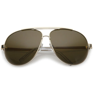 Premium Oversize Metal Aviator Sunglasses With Double Nose Bridge And Flat Top 67mm (Gold / Brown)