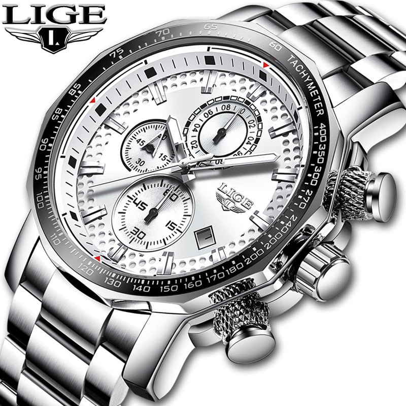 LIGE Stainless Steel Men Watch Top Brand Luxury Fashion Business Big Dial Sport Waterproof Date