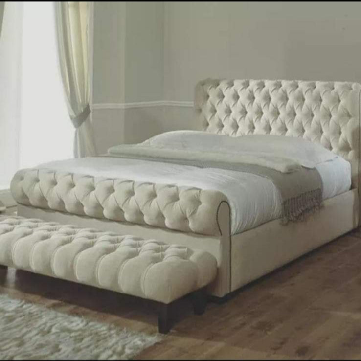 The 'Toronto' Chesterfield Sleigh Bed
